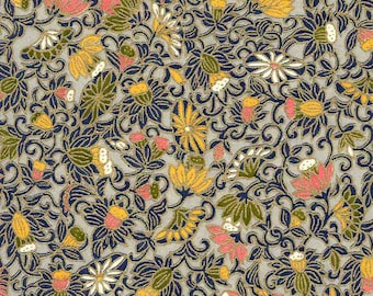 Chiyogami or yuzen paper - twisty vines in navy with rose and ochre blooms on pewter background, 9x12 inches