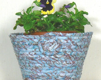 Fabric Pot Basket, Coiled Fabric Pottery, Clothesline Basket, Washable Basket, OOAK Coiled Basket, Coiled Rope Basket, Batik Basket Vase,