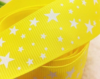 Yellow white grosgrain Ribbon star 25mm sold by the yard