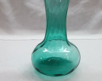 "8"" Vintage Teal /Blue Green/ Aquamarine Blue Swirled Glass Vase"