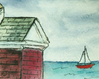 Maine Watercolor Painting Landscape Seascape ACEO Presentation Folder Card Oil House at Pemaquid Light Artist Trading Card Kathleen Daughan