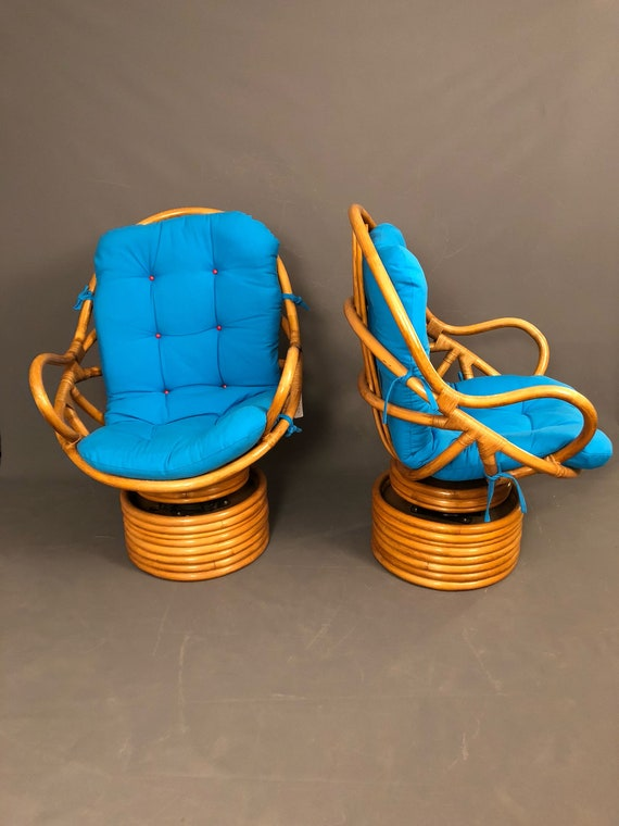 Mid-Century Pretzel shape Rattan & Bamboo Pair of Swivel Chairs.
