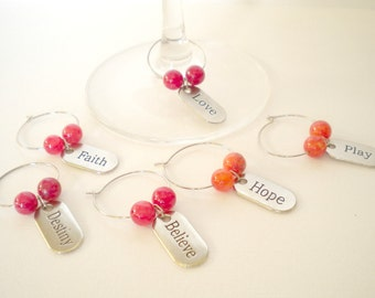 Wine Glass Charms with Dyed Ruby Jade Beads, Love, Hope, Believe, Destiny, Faith, Play