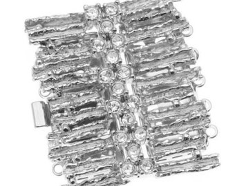 Rhodium Plated 5-Strand Box Clasp - Rectangle Tracks With Crystals - 31.5x29mm by Elegant Elements