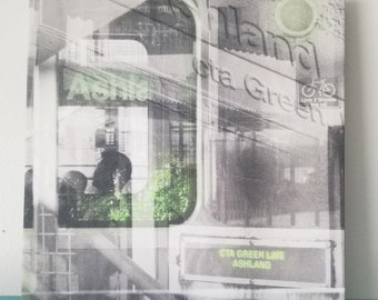 """Chicago 13"""" Canvas Wall Art - Green Line CTA Photo Collage"""