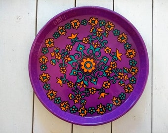 Vintage 1970s flower power kitchen metal serving tray psychedelic print orange purple green floral print