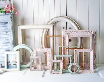 Pink and Mint Vintage Frames, Baby Girl Nursery Frames, MADE to Order, Large Oval Frame, Shabby Chic Frames Spring Wedding Picture Frame Set