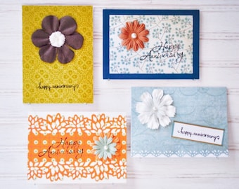 HAPPY ANNIVERSARY Greeting Card Set - 4 Unique Handmade Anniversary Cards for Women / One-of-a-Kind Cards / Blank Greeting Cards / Gift Set