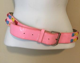 Vintage Belt, Pink Belt, Plastic Belt, Rainbow studded, 80s belt, punk, bubblegum pink