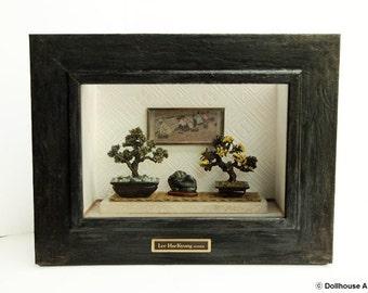 Oriental Bonsai tree (Frame No.2) Asian Traditional Dollhouse Miniatures 1/12