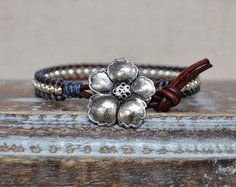 Navy Wild Rose Wrap Bracelet