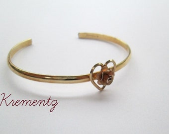 Minimalist Gold Cuff Bracelet // Rose Heart Youth Teen Adult Krementz Jewelry