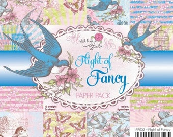 two pockets 15.2 36 papers x 15.2 cm Wild Rose FLIGHT OF FANCY