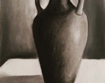 Vase Still Life, charcoal on paper, 30x22in (76x56cm) ORIGINAL DRAWING