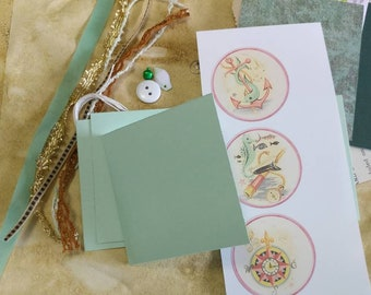 KIT: Supplies for Coordinating Set of 3 Mini 3x3 Journals with Tassel (April Junk Journal Project w. Me)