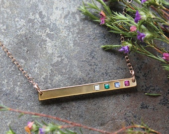 Gold Bar Necklace with Birthstones, Delicate Gold Birthstone Bar Necklace. Personalized Family Necklace for Mom, Mothers Necklace. GRATITUDE