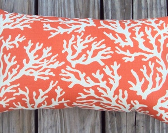 Orange and White Coral Print Outdoor Pillow Cover - Available In 6 Sizes - Made To Order