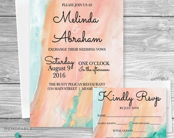 Wedding Invitation - Watercolor Wedding Invitations - Pretty Wedding Invitations - Wedding - Invitations  - Printable Invitations