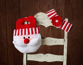 Christmas CROCHET PATTERN Santa Purse and Striped Headband 2 to 6 years