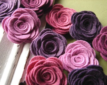 Wool Blend Felt Fabric Flowers - Large Posies - Vineyard Collection - Felt Flowers