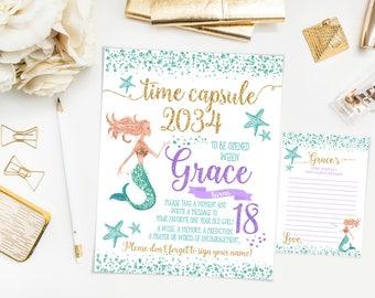 Mermaid Time capsule first birthday sign, mermaid birthday party, teal purple and gold, printable print