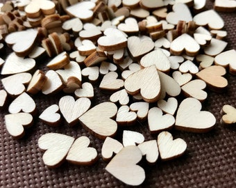 1000 Mini Wood Confetti Hearts - Bulk Tiny Wedding Table Scatter Confetti - Big Pack - Mini Wood Hearts