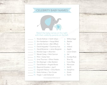 celebrity baby names matching game card printable elephant baby boy shower blue grey baby shower digital games - INSTANT DOWNLOAD