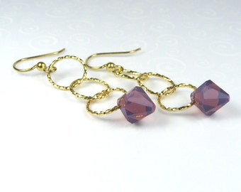 Purple Drop Earrings, Crystal Dangle Earrings, Simple Modern Jewelry, Minimalist Jewelry