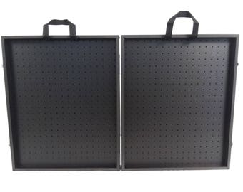 """All Black 3 3/4"""" Thick Folding Pegboard Display Suitcase"""
