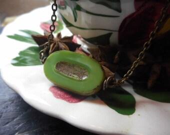 Kiwi Fruit Necklace. Green Oval Czech Glass Chartreuse Picasso Kiwi Slice Summer Boho necklace