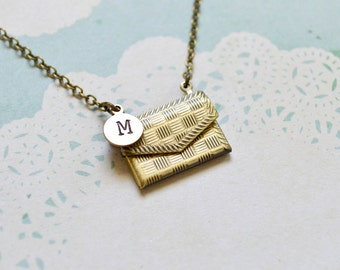 Personalized Envelope Locket Necklace - Initial Locket - Initial Necklace - Monogram Locket - Secret Compartment - Love Letter