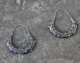 Bohemian Balinese Sterling Silver Hoops