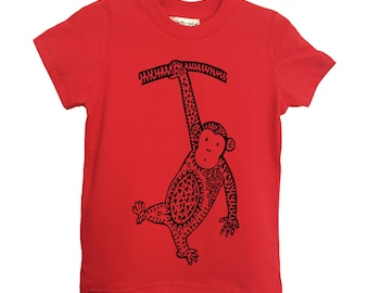 Red Monkey pour enfant Tshirt taille 2 4 6 American Apparel coton T2 T4 T6