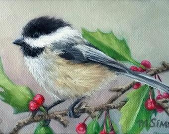 BIRD - Chickadee art - bird art print - bird painting - holiday art