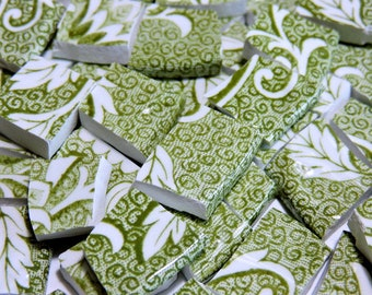 MoSAiC CHiNA TiLeS - ANTiQuE MoSSY GReEN EnGLiSH - Broken China Tiles