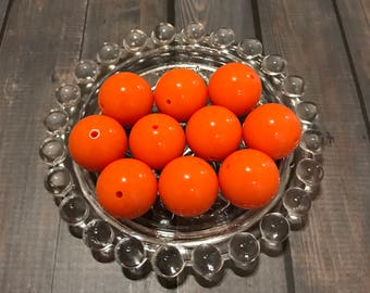 Orange Bubblegum Bead, 20mm Orange Bead, Solid Orange Chunky Bead