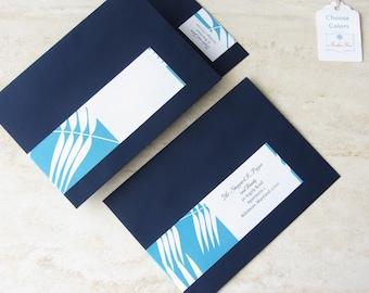 Wrap Around Return Address Label - Beach Invitation Envelope Label -  Wedding Guest List Label - Choose Your Color