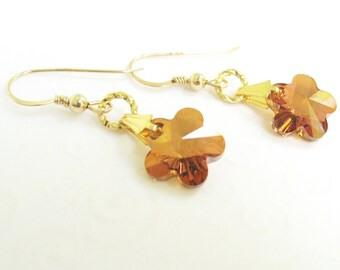 Crystal Flower Earrings, Copper Crystal Swarovski Elements, Flower Dangle Earrings, Drop Earrings, Flower Jewelry, Summer Jewelry