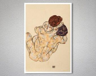Mann und Frau, Embrace, 1917 by Egon Schiele - Poster Print, Sticker or Canvas Print / Gift Idea