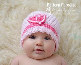 Crochet Pattern for Sweet Tea Beanie Hat ,  PDF 17-318