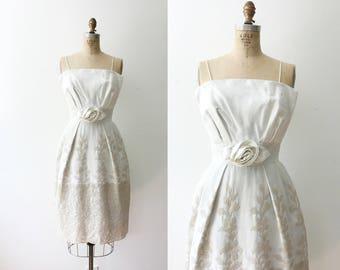 1950s lace dress / 50s cotton applique dress / Rose Soiree dress
