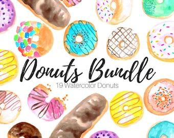 Food Clip Art - Donut Clip Art - Large Clip Art Set - Watercolor donuts - Watercolor clip art - Commercial use