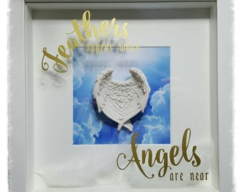 Remembrance, Family loss, Bearevment, When Feathers Appear, Angel Wing Memorial Box Frame