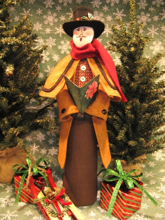 Adult Male Caroler - Mailed Cloth Doll Pattern Victorian Christmas Male Caroler