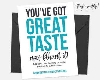 Thank You Card Printable, Thank You Card Template, Great Taste, Package Insert, Business Thank You Cards, Editable Thank You Note- Teal Blue