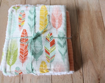 Burpee | Burp cloth | Chenille | Wash cloth | Peach | Feathers | Boho