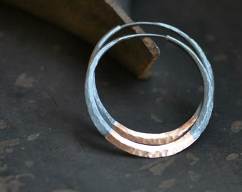 "Hoop earrings, 14k Rose gold and sterling silver, mixed metal, 1.5"" Rustic dark silver, hand forged self locking hoops"