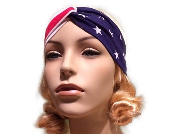 American Badass Stars and Stripes turban headband american flag headband