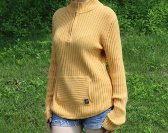 Cotton knit sweater, yellow sweater, yellow hoodie, mustard yellow, Size 12, Size Large