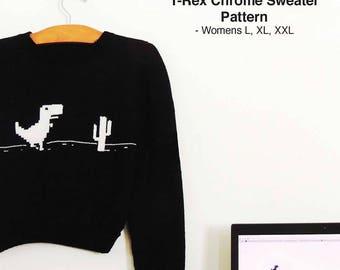 Womens Sweater (L, XL, XXL) Trex Dinosaur Geeky Cactus Chrome Knit Jumper Pullover pattern